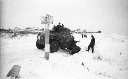 Armoured car, military, winter, Hungarian brand, accident, camouflage pattern, road signs Fortepan 29008.jpg