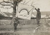 111-SC-6427 - Unfurling the Rainbow Division flag for the first time for the camera - NARA - 55173762.jpg